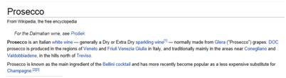 Wikipedia Prosecco Entry